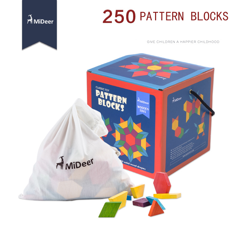 Mideer Wooden Toys Pattern Blocks 250pcs Geometry recognition Colorful million spent building blocks chemometrics pattern recognition methods