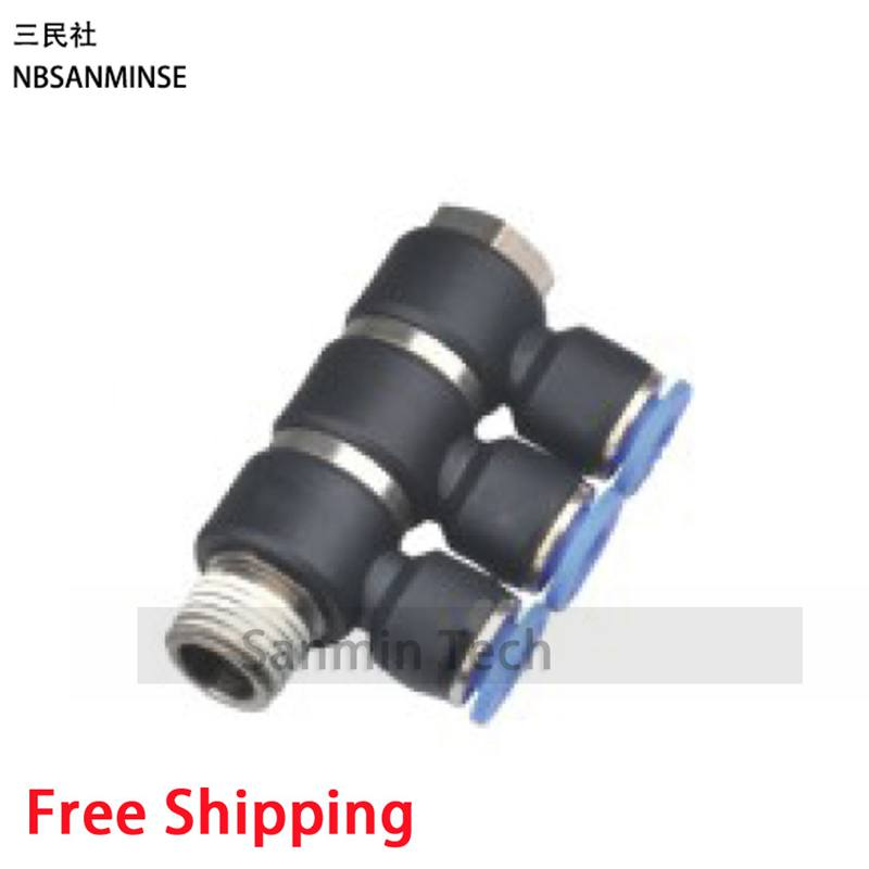 10Pcs/Lot PHT3 Coupling Tube Universal Triple Branch Union Fittings Plastic Banjo Air Push In Swivel Quick Connector Sanmin x5 push in one touch delta branch elbow union connector replace smc kq2d04 00