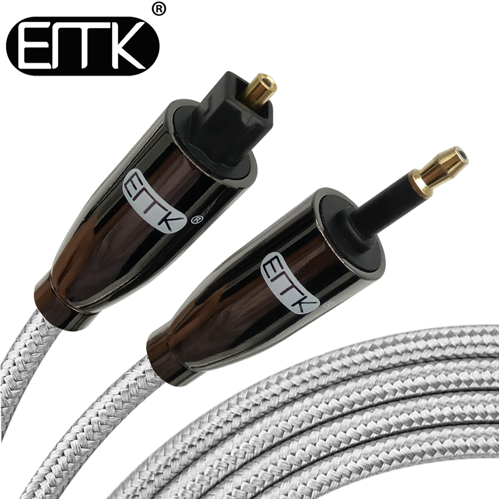 EMK Digital Toslink to Mini Toslink Cable 3.5mm SPDIF Optical Cable 3.5 to Optical Audio Cable for Macbook 1m 2m 3m 8m 10m 15m digital audio optical fiber toslink cable black 10 meters