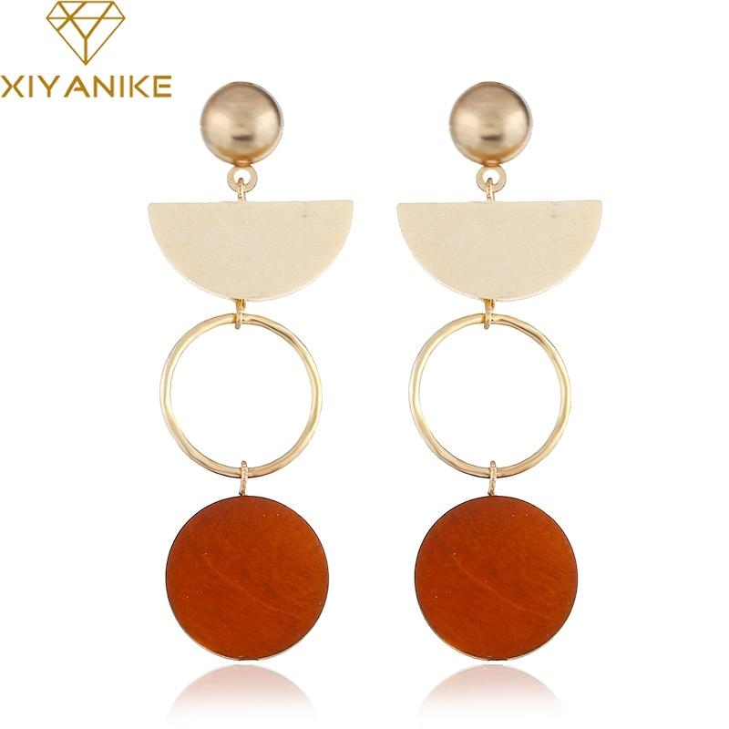 XIYANIKE New Sector Round Wood Drop Earrings For Women Gift