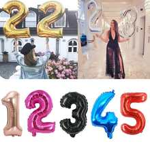 32/40 inch Foil Number Balloons Gold Party Ballon 1st Birthday Party Decorations Kids aduld Boy Baby Shower Girl Ballons(China)