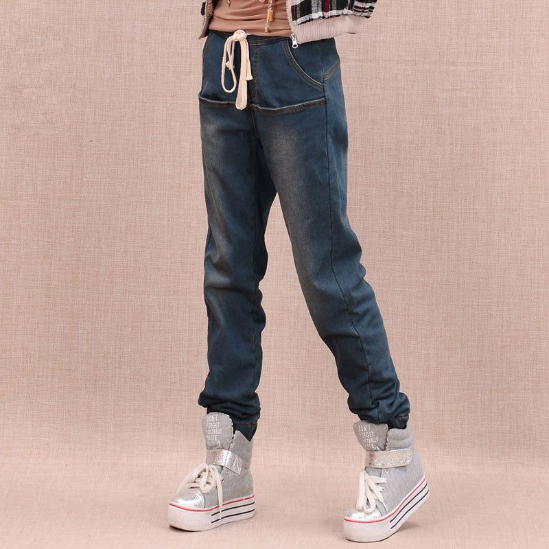 New Arrival Winter Warm Jeans Women Thicken Fleece Skinny Harem Pants Elastic Waist Denim Trousers Plus Size Pants 100604 new arrival winter fleece warm jeans high quality men blue denim plus size pants thicken jean slim trousers 100607