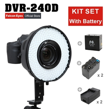 Falconeyes 5600K Flash Ring LED Panel Dimmable Selfie Lighting Photo Video Shooting DVR-240D + MV-AD1(NP-F750A)