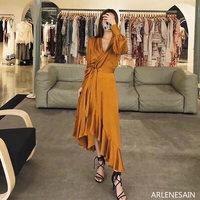 Arlenesain custom 2019 new fashion multi color splendid slim little sexy silk women dress