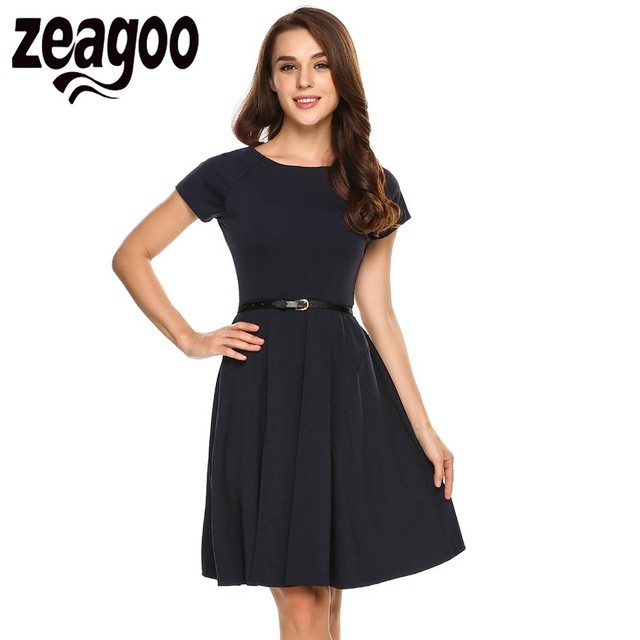 Zeagoo 2017 Summer Women Short Sleeve Solid Casual Cocktail Party ...