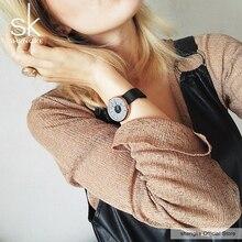 Shengke ブランドの高級腕時計女性高品質の黒のメッシュベルト女子クリエイティブ腕時計女性ドレス時計リロイ mujer 2017