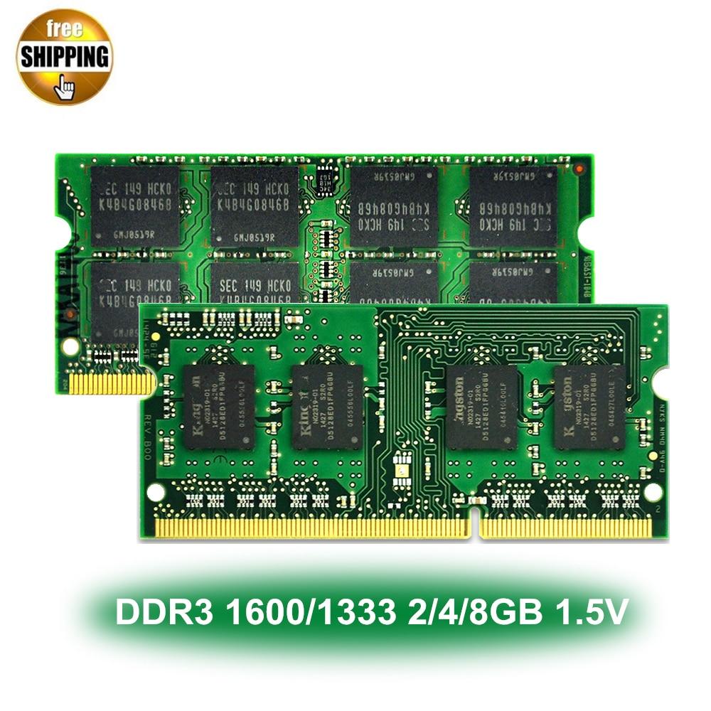 DDR3 DDR 3 1600/1333 MHz PC3-12800/10600 8/4/2 GB 204-PIN 1.5 V CL9 NON-ECC Module de mémoire SODIMM Ram SDRAM pour ordinateur portable/ordinateur portable