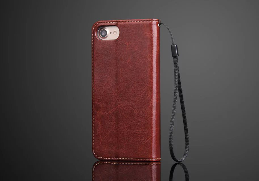 2018 Luxury Genuine Leather Flip Cover Case for Apple iPhone 8/A1863 High Quality Simplicity Buffed Sheepskin Original Fashion