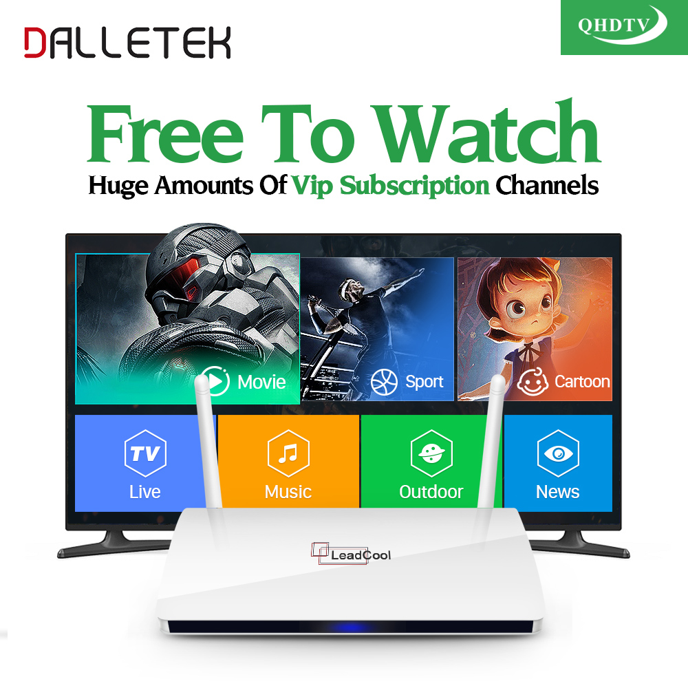 Dalletektv Leadcool QHDTV IPTV Box 1 Year Subscription Europe French Italia 1300 Channels Android 6.0 TV Box Arabic IPTV Top Box magnet flip cover for huawei mediapad m2 10 1 m2 a01w a01w tablet case pu leather case with hand holder and card slot