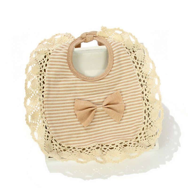 Lace Bow Baby Bibs Cute Organic Cotton Infant Bibs Solid Striped Boys Girls Bandana Toddler Saliva Towels Baby Accessories 2019
