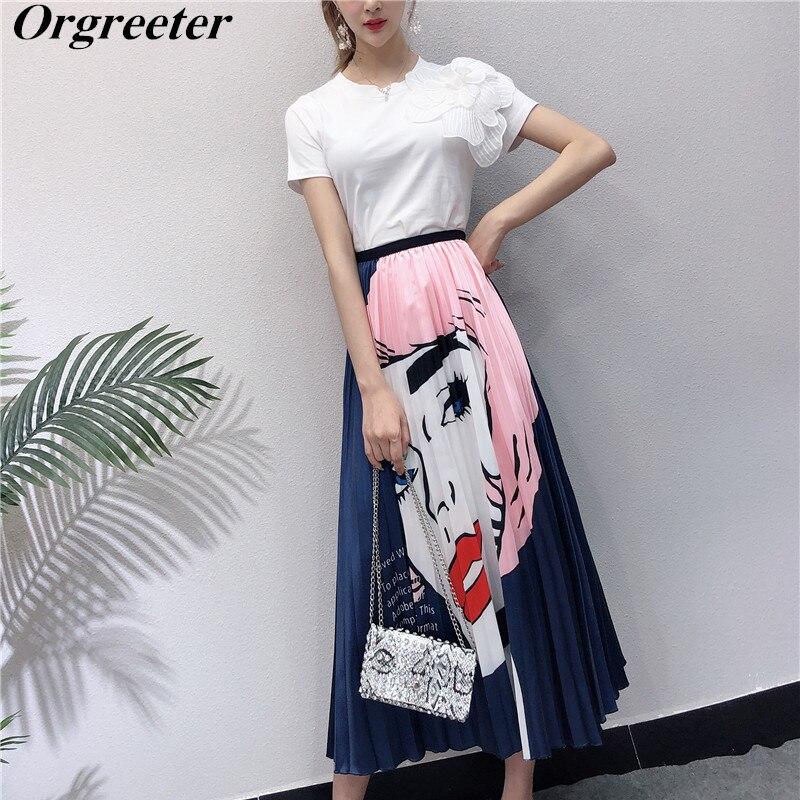 Orgreeter Women's 3D Flower Appliques White T-Shirt High Waist character Print