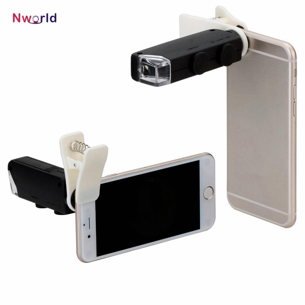 60X à 100X Zoom LED Microscope Loupe Micro Mobile Téléphone Lentille Caméra avec Clip Universel Pour iPhone Samsung HTC Huawei
