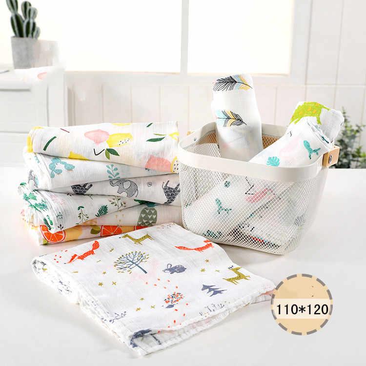 1Pc מוסלין 110*120CM כותנה תינוק עוטף רך יילוד שמיכות אמבטיה גזה תינוקות גלישת sleepsack עגלת כיסוי לשחק מחצלת