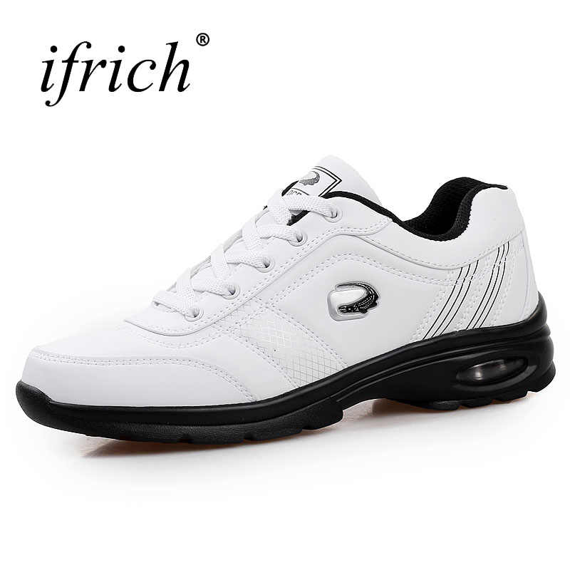 Ifrich 2019 Hot Sell Men Athletic Shoes Running Shoes Black White Pu Leather Mens Gym Sneakers Spring Autumn Gym Trainers