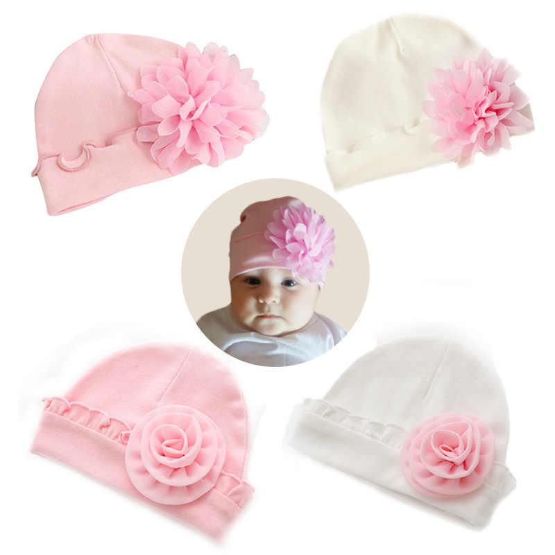 น่ารักบิ๊กดอกไม้ทารกแรกเกิดหมวกถักนุ่มผ้าฝ้ายเด็กหมวก Beanie ฤดูใบไม้ร่วงฤดูหนาวสีเด็กสาวหมวกถ่ายภาพ Props