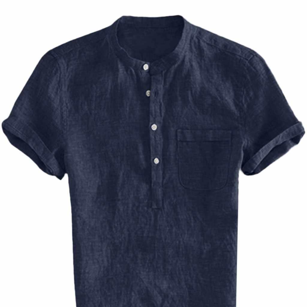 カジュアル半袖シャツ男性のメンズシャツカミーサだぶだぶの綿リネン固体ボタン男性ブラウスストリートトップスカミーサ masculina