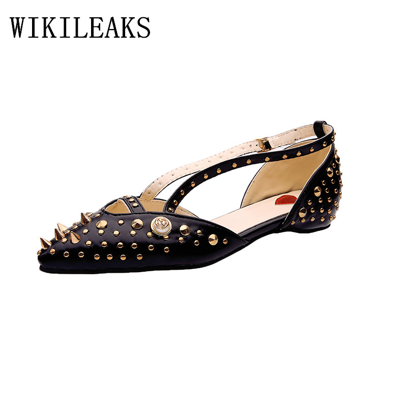 new designer luxury brand ladies pointed toe flat shoes woman zapatillas mujer casual fashion rivets sapato feminino black white new designer women fur flats luxury brand slip on loafers zapatillas mujer casual ladies shoes pointed toe sapato feminino black