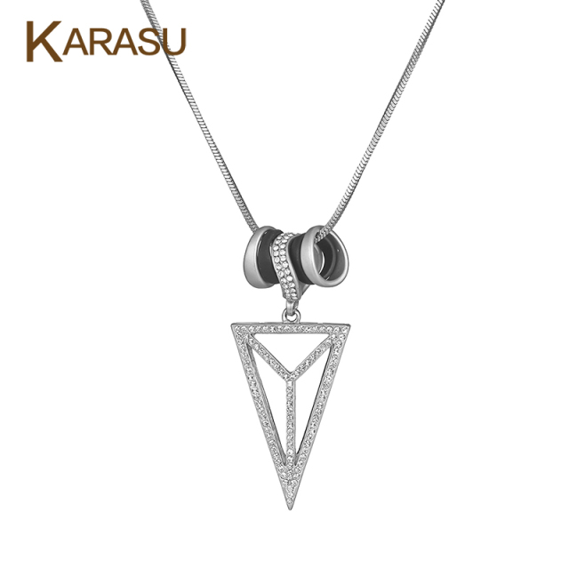 Hot Selling Real Gold Plated CZ Zircon Hollow Triangle Round Pendant Long Snake Chain Pendant Necklaces for Women Jewelry Gifts