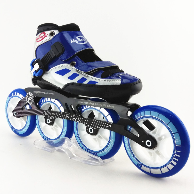 speed handmade inline skating shoes blue color speed skating shoes roller skates with ps speed skate wheels [7000 aluminium alloy] original vortex inline speed skate frame base for 4x110mm 4x100mm 4x90mm skating shoe bcnt sts cityrun
