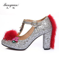 Fanyuan Ladies high heeled shoes Vintage sequins fur rhinestone crystal shoes wedding shoes Sexy T Strap Women party pumps