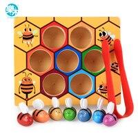 Logwood חידושים & Gag צעצועי כוורת עץ תינוק משחק משחק שולחן דבורה למידה חינוך צעצוע מתנות לילדים