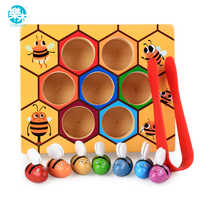 Logwood baby wooden Novelty & Gag Toys Beehive game learning Education toy Bee table game Children gifts