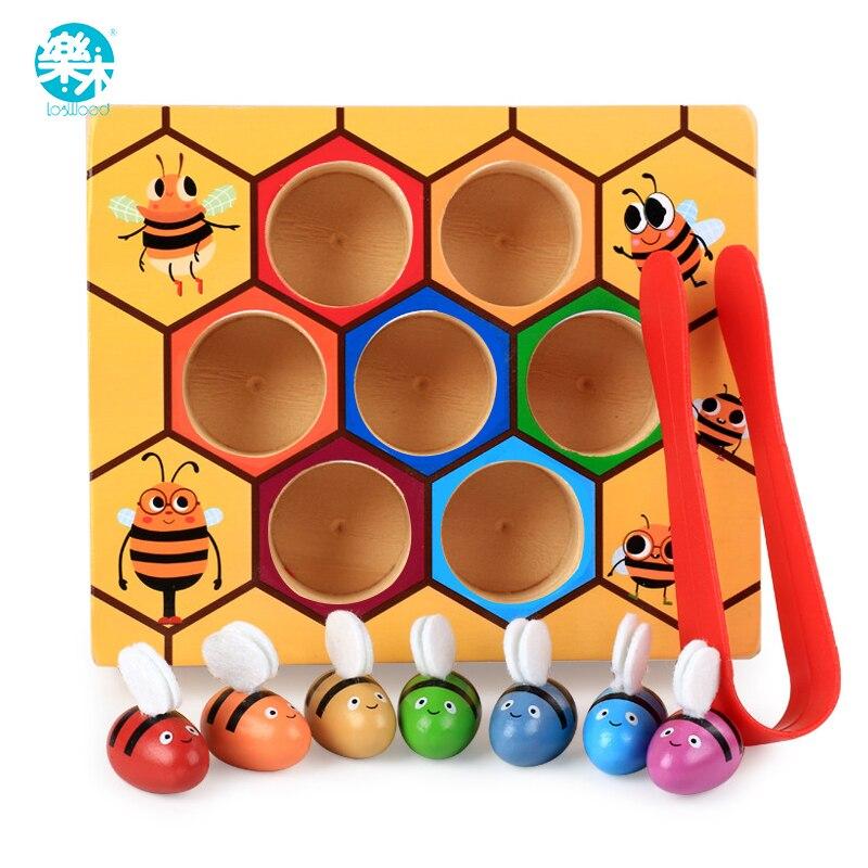 Novedad de madera del bebé de Logwood y juguetes de mordaza juego de colmena aprendizaje educación juguete de la abeja juego de mesa regalos para niños