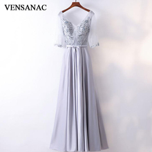 VENSANAC 2018 V Neck Crystal Lace Appliques A Line Long Evening Dresses Elegant Bow Sash Half Sleeve Party Prom Gowns