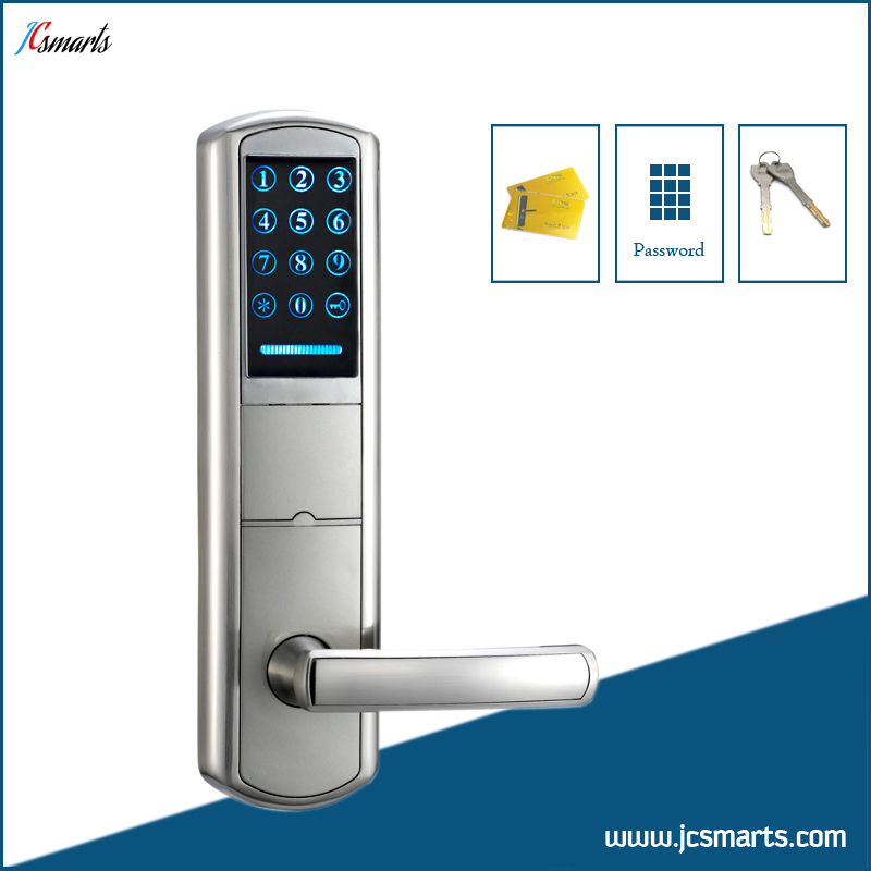 Combination front door lock home keyless entry house door lock code+M1 card unlock top quality rolling code pke car alarm system with passive keyless entry power window output automatically lock unlock car