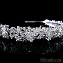 Hot Women's Girl's hair accessories Twinkling Full Crystal Flower Leaf Wedding Bridal Flower Girl Tiara flower headband 0JCQ
