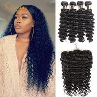 Joedir Hair 360 Lace Frontal With Bundles Brazilian Deep Wave Bundles With Frontal Brazillian Hair Bundles With Closure