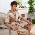2016 Primavera Verão Outono Dos Homens Chineses de Cetim de Seda Robe Masculino Roupão Adulto Roupas Casuais Casa roupa de Dormir Confortável Plus Size 3XL