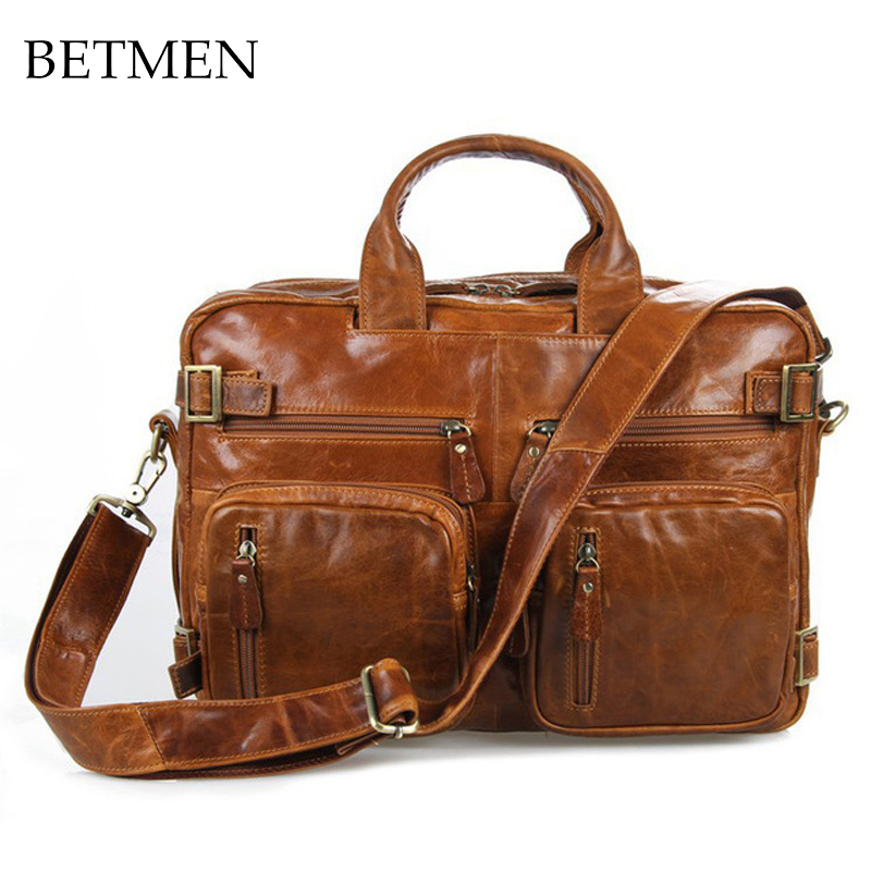 BETMEN luxury vintage men handbag shoulder bags genuine leather bag men briefcase business large capacity men's travel bags