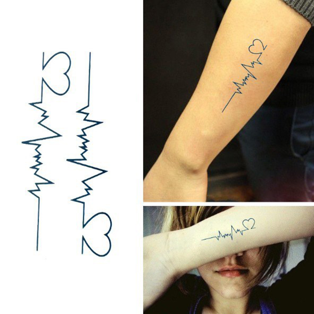 Liebe Herz EKG Temporäre <font><b>Tattoos</b></font> Body Art Tatuajes <font><b>Tattoo</b></font> Aufkleber Wasserdicht Temporäre Tatoo Männer Die Flash <font><b>Tattoo</b></font> image