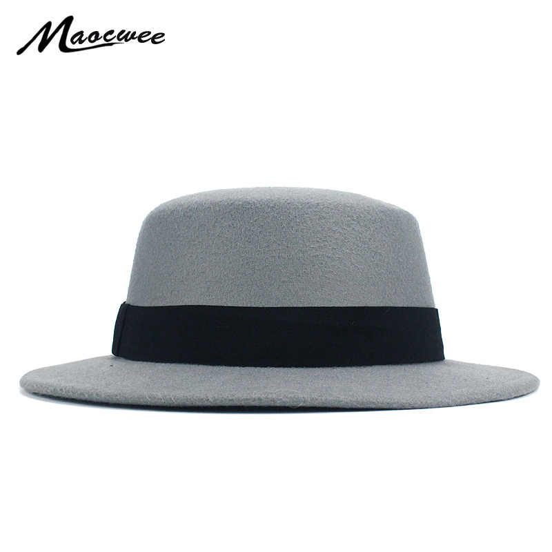 c37fffa51 Girl Flat Top Hats Solid Black Red Casual Vintage Wide Brim Fedora Felt  Bowler Fedora Hat Floppy Cloche Men gangster Hat Chapeu