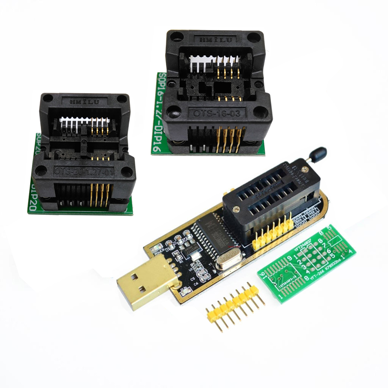 CH341 CH341A USB programmer SOP16 DIP16 SOP8 DIP8 IC socket programer IC socket support many 24/25XX SPI flash EEPROM chip mc14049ubdr2g sop16