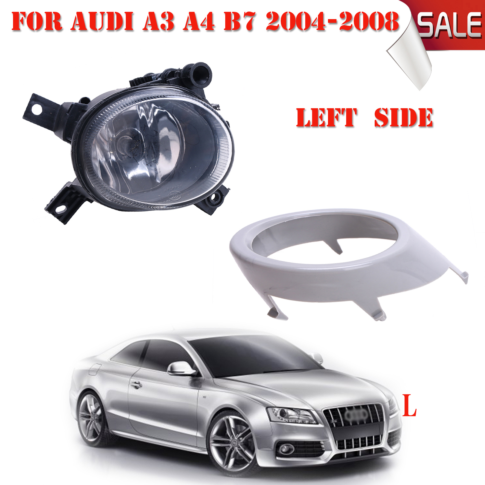 Left Side Front Bumper Grill Cover with Fog Light Lamp For Audi A3 A4 B7 2004-2008 with Bulbs H11 Car Accessories #P327 for vw touareg 2003 2004 2005 2006 2007 2008 2009 2010 left side car styling halogen front bumper fog lamp fog light with bulb