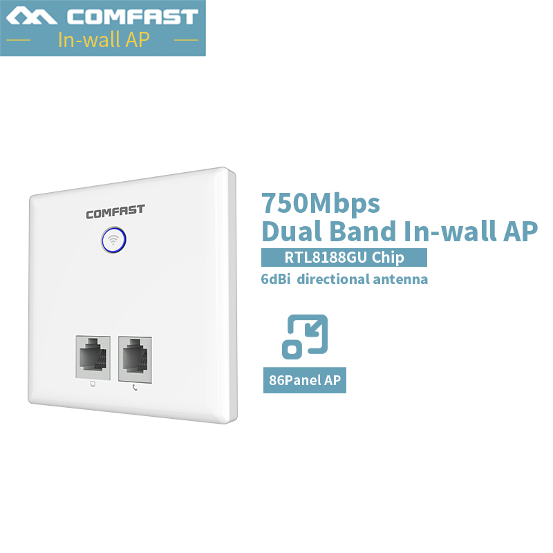 COMFAST CF-E537AC In Wall AP For Smart Hotel Embedded Access Point Wi-Fi 750Mbps Dual Band Wireless Router Repeater