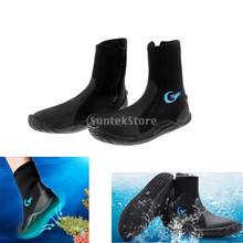 Botas de neopreno para buceo de 5mm, traje de neopreno con cremallera, zapatos cálidos antideslizantes, para surf, pesca, deportes acuáticos de invierno, aletas de natación