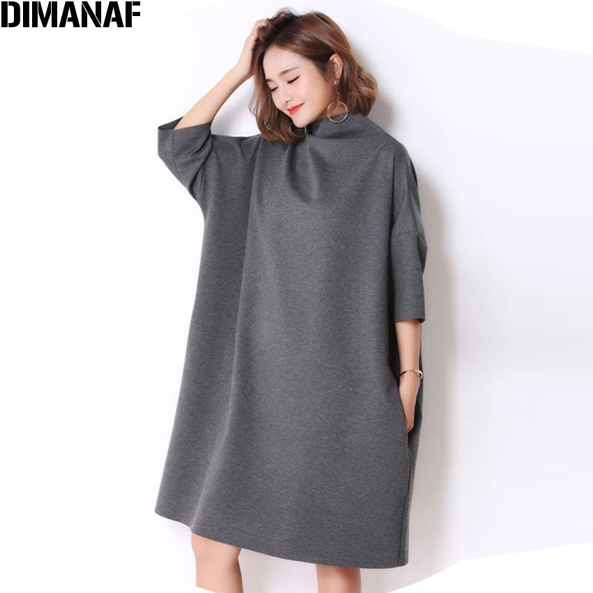 DIMANAF Autumn Plus Size Women Dress Casual Solid Turtleneck Loose Batwing Female Fashion Oversize Grey Elegant Dresses Fit 5XL