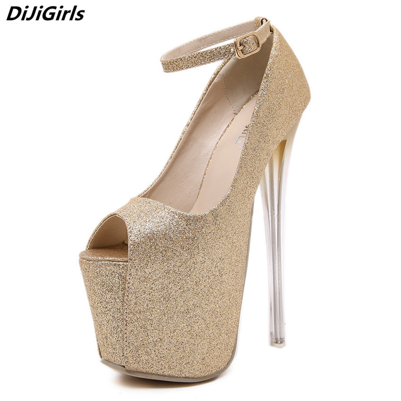 DiJiGirls 2018 Sexy 16CM Womens High Heels Platform Shoes Gold Silver Black Evening Pole Shoes Womn Pumps Ankle Strap Stilettos