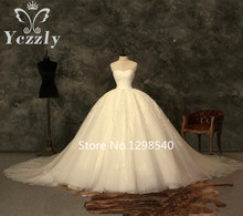 Vestido De Noiva Princesa 2017 Real Photos Sweetheart Ball Gown Puffy Lace Applique Crystal Wedding Gown Long Bridal Gown RW271