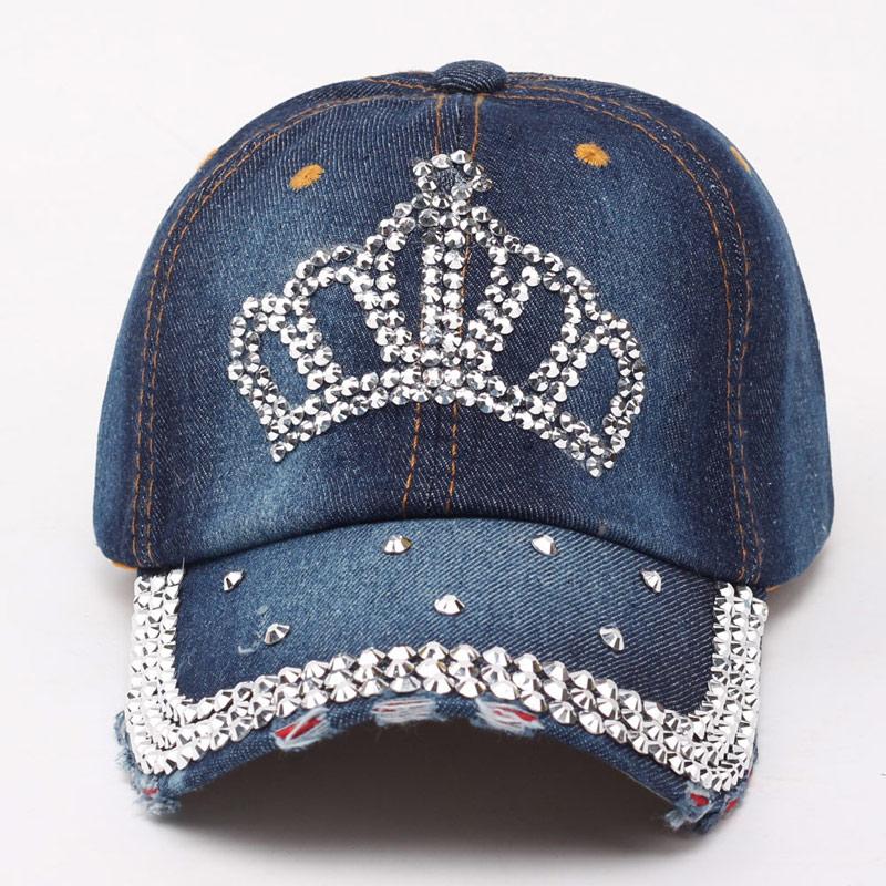 Women Bling Tiara Distressed Denim   Baseball     Cap   Rhinestones Embellished Washed Retro Style Adjustable Hat