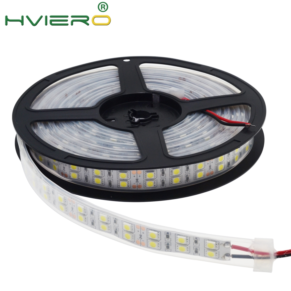 1Roll 5M Double Row 5050 SMD 600Leds Warm White Led Strip Light Ip67 Waterproof 12V DC Bar Garden Outdoor Holiday Desk Lamp