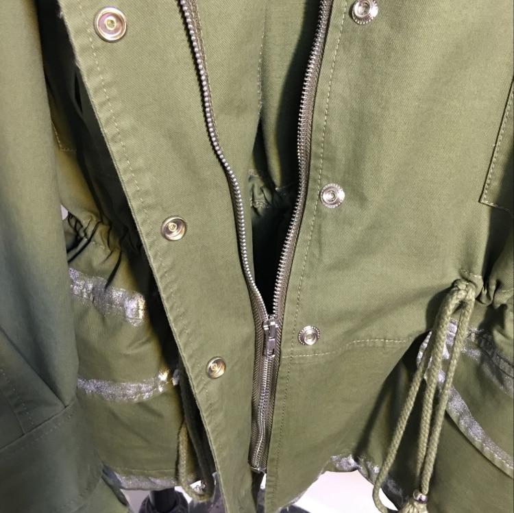 army Coupe Lâche Burderry 2018 Doodle Tranchée Grande Manteau Faire Automne Militaire Bf Vent Femelle Noir Green Peinture Taille À Nouvelle vent Le Vieux 1xpYx6w