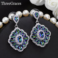Gorgeous White Gold Plated Cubic Zircon Crystal Inlay Sparkling Mystic Rainbow Light Blue Ladies Fashion Earrings Jewelry ER320