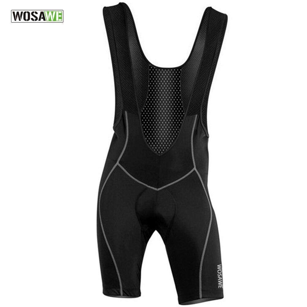 WOSAWE Mens Cycling Bib Shorts Pants Bicycle Bike Vest Shorts Clothes Cycle Wear Clothing Sponge Cushion Pad Braces Tights