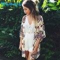 Стильный 2016 Осень SL Женщины Геометрия Печатных Шифоновый Платок Кимоно Кардиган Топы Cover up Блузка для женщин