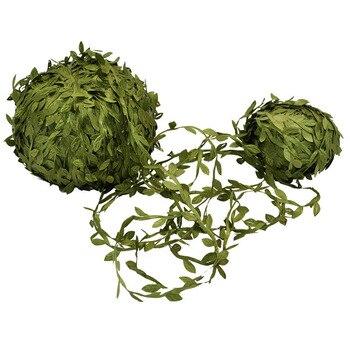 10 метров зеленые листья из ротанга, шелковая гирлянда, искусственная Цветочная лоза из ротанга для свадебного украшения, сделай сам, скрапб...