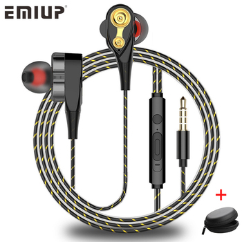 Dual Drive Stereo Wired Earphone In-ear Headset Earbuds Bass Earphones For IPhone Samsung 3.5mm Sport Gaming Headset With Mic Audio Audio Electronics Electronics Head phone Headphones & Headsets color: Bag|Black|Gold|White